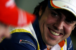 FIA press conference: Fernando Alonso, Renault F1 Team, laughing