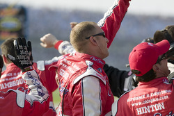 Old Spice Toyota crew members celebrate the victory of Tony Stewart