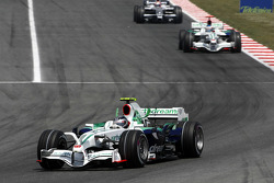 Rubens Barrichello, Honda Racing F1 Team leads Jenson Button, Honda Racing F1 Team