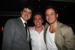 Actors James Alexandrou and Joe Swash with Robbie Kerr, driver of A1 Team Great Britain at the Ignition Party
