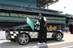 Honorary Starter, Ron Hunter, IUPUI Men's Basketball Coach, poses with the 2008 Indy 500 Pace Car