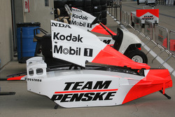 Team Penske car parts in the garage