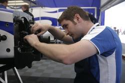 A David Price Racing mechanic at work
