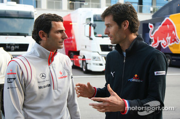 Pedro de la Rosa, Test Driver, McLaren Mercedes and Mark Webber, Red Bull Racing