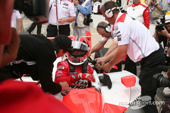 Helio Castroneves after his qualifying run