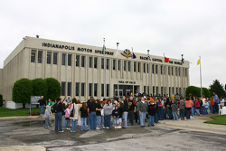 Students line up to catch a glimpse of the the historical Hall of Fame Museum at Indianapolis Motor Speedway