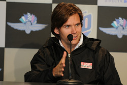 Dan Wheldon durning the morning press conference