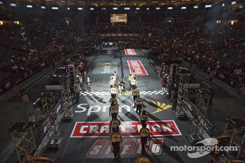 The NASCAR Sprint Pit Crew Challenge at the Time Warner Cable Arena in Charlotte: the NASCAR officials line up before the start of the Sprint Pit Crew Challenge