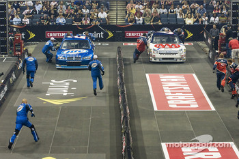 The NASCAR Sprint Pit Crew Challenge at the Time Warner Cable Arena in Charlotte: the Miller Lite Dodge crew competes with the AAA crew