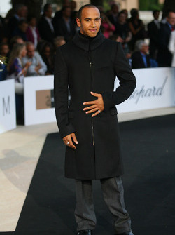 Lewis Hamilton, McLaren Mercedes Amber Fashion which benefits the  Elton John Aids Foundation