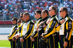 Menards Crew stands for the National Anthem
