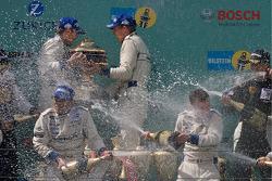 Podium: race winners #1 Manthey Racing Porsche 911 GT3 RSR: Timo Bernhard, Marc Lieb, Romain Dumas, Marcel Tiemann celebrates with champagne