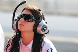 Danica Patrick watching Hieki Mutoh's lap times