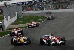 Timo Glock, Toyota F1 Team, TF108 overtakes Nelson A. Piquet, Renault F1 Team, R28