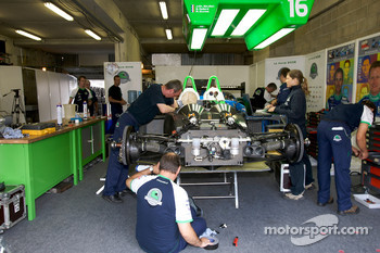 Pescarolo Sport team members at work on the #16 car