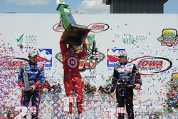 Victory lane: race winner Dan Wheldon, second place Hideki Mutoh, third place Marco Andretti