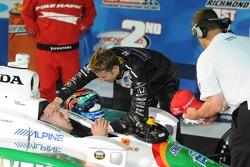 Victory lane: Marco Andretti congratulates race winner Tony Kanaan