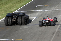 The batmobile and Timo Glock, Toyota F1 Team