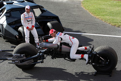Timo Glock, Toyota F1 Team and Jarno Trulli, Toyota Racing with the Batmobile and the Batbike