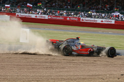 Lewis Hamilton, McLaren Mercedes, MP4-23, goes into the gravel trap