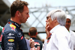 (L to R): Christian Horner, Red Bull Racing Team Principal with Bernie Ecclestone