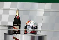 The helmet of Sebastian Vettel, Ferrari on the podium