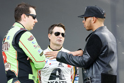 Kyle Busch, Joe Gibbs Racing Toyota, Jeff Gordon, Hendrick Motorsports Chevrolet and Lewis Hamilton, Mercedes AMG F1 Team