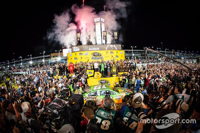 6. Victory Lane: race winner and 2015 NASCAR Sprint Cup series champion Kyle Busch, Joe Gibbs Racing Toyota celebrates