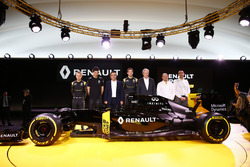 Carlos Ghosn, Renault President with Jerome Stoll, Renault Sport F1 president, Cyril Abiteboul,  Renault Sport F1 managing director and Frederic Vasseur, team manager Renault Sport F1 team and drivers Jolyon Palmer, Kevin Magnussen and Esteban Ocon Renault
