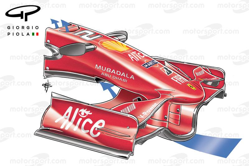 """Ferrari F2008 """"F"""" wing hole in Spagna"""
