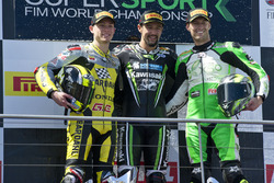 Podium: second place Federico Caricasulo, winner Randy Krummenacher, Puccetti Racing Kawasaki, third place Anthony West