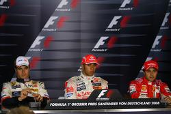 Press conference: race winner Lewis Hamilton, second place Nelson A. Piquet, third place Felipe Massa