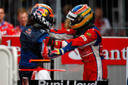 Karun Chandhok celebrates his victory with Bruno Senna