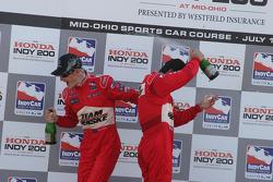 Podium: race winner Ryan Briscoe celebrates with Helio Castroneves