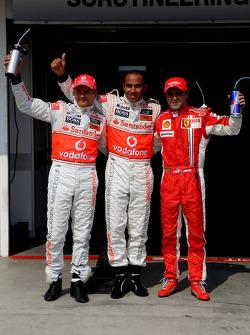 2nd, Heikki Kovalainen, McLaren Mercedes, 1st, Lewis Hamilton, McLaren Mercedes and 3rd, Felipe Massa, Scuderia Ferrari