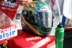 Troy Bayliss' helmet and drink bottle