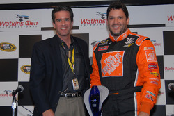 Tony Stewart inducted into The Legends of The Glen: Craig Rust, president of Watkins Glen International, and Tony Stewart