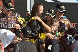 Victory lane: a champagne soaked Miss Sprint Cup and Kyle Busch's girlfriend