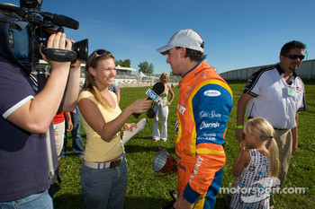 Race winner Andrew Ranger gives TV interviews