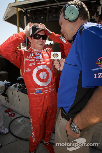 Pole winner Scott Dixon gives an interview