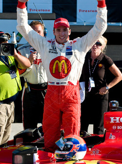 Victory lane: race winner Justin Wilson celebrates