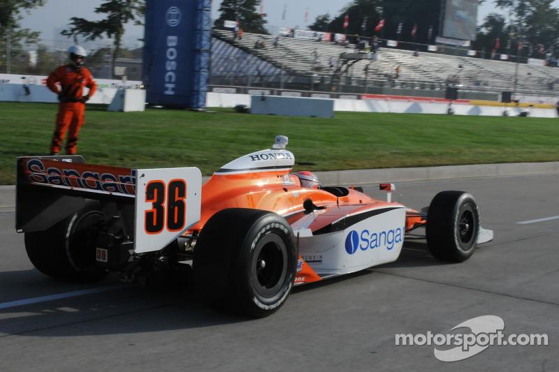 Alex Tagliani leaves the pits