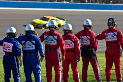 The safety crew show their support before the Pepsi 500