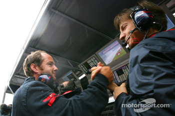 Gerhard Berger celebrates the pole position of Sebastian Vettel