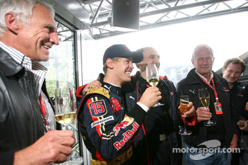 Race winner Sebastian Vettel celebrates with Franz Tost, Scuderia Toro Rosso, Team Principal, and Dietrich Mateschitz, Owner of Red Bull