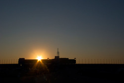 Sun rises over the horizon at Kansas Speedway