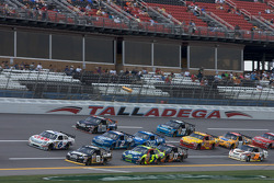 Aric Almirola and David Ragan lead a group of cars