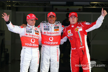 Pole winner Lewis Hamilton, second place Kimi Raikkonen, third place Heikki Kovalainen
