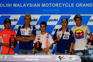 Post-qualifying press conference: pole winner Dani Pedrosa, second place Valentino Rossi, third place Jorge Lorenzo, 250cc pole winner Hiroshi Aoyama and 125cc pole winner Andrea Iannone
