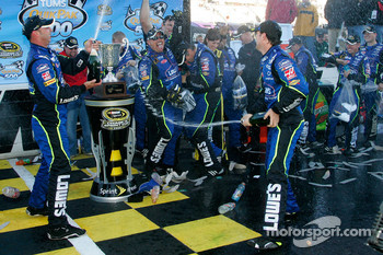 Victory lane: race winner Jimmie Johnson celebrates with Chad Knaus and his team